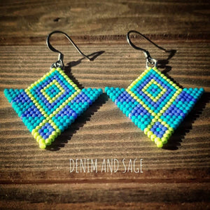 Purple, blue and chartreuse beaded earrings. Indigenous handmade.