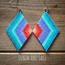 Load image into Gallery viewer, Summer ombre rainbow earrings. Indigenous handmade.