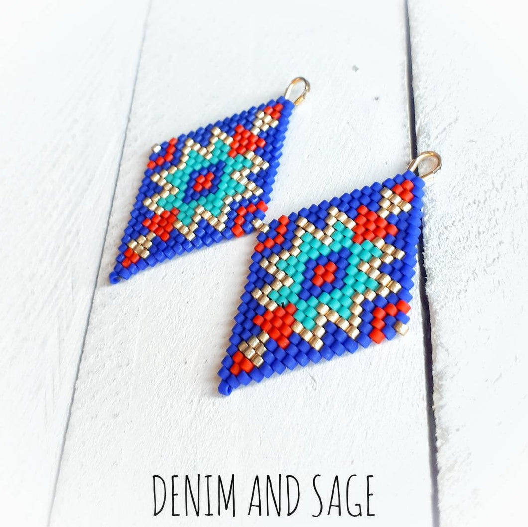 Blue, gold and red beaded delica earrings. Indigenous Handmade