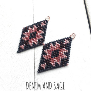 Rose gold and matte black delica beaded earrings. Indigenous handmade