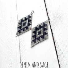 Load image into Gallery viewer, Silver and black beaded earrings. Indigenous handmade.