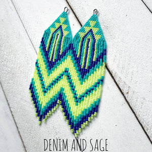 Teal, neon yellow and blue beaded earrings. Indigenous handmade.