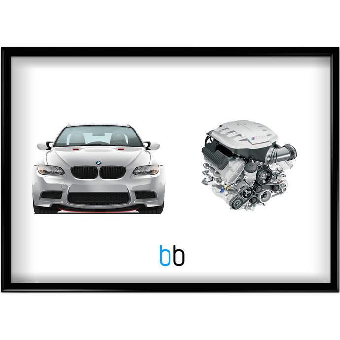 Bmw E90 M3 Crt/s65B44 Engine Combo Print Poster