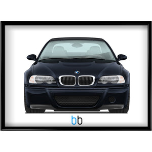 Bmw E46 M3 Csl Print-Limited Edition Black Sapphire Metallic Poster