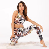 Women's Floral Printed Ensemble with Padded Sports Bra and Fitness Leggings for Workout, Jogging, Dance, Sports, and more