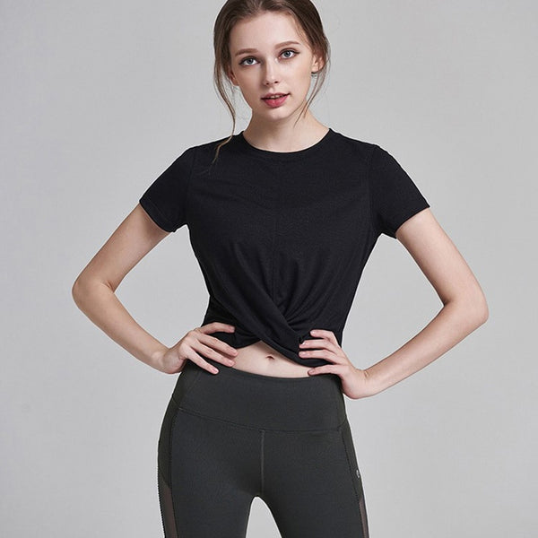 Women's Solid Colour Sports T Shirts with Comfortable, Breathable Fabric for Yoga, Running and Exercise