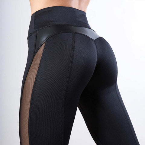 Women's High Waist Fitness Leggings with Mesh and PU Leather Patchwork for Yoga, Running, and Sports