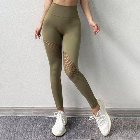 Women's Seamless Stretchy High Waist Leggings with Shark Mesh Design for Yoga, Gym and Other Sports