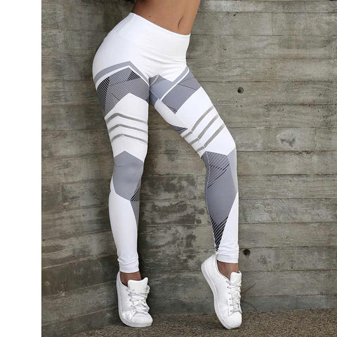 Women's High Waist Sports Leggings with Geometric Print, for Running, Workout, and other activities