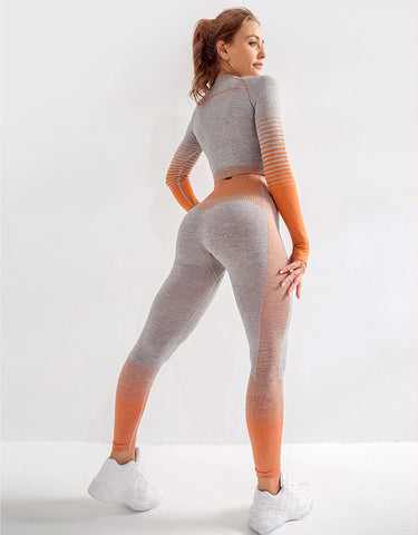 Seamless Yoga Set for Women with Long Sleeve Top and Super Comfy High Waist Sports Leggings