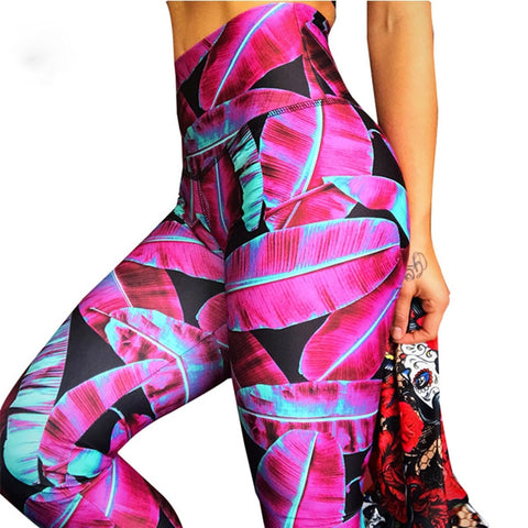Women's High Waist, Push Up Running Pant with Digital Print, Breathable Fabric for Yoga, Workout and Sports