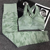 Women's Seamless 2 Piece Yoga Set with Camo Print Full-Sleeve Crop Top / Sleeveless Yoga Bra + High Waist, Push Up Leggings for Workout