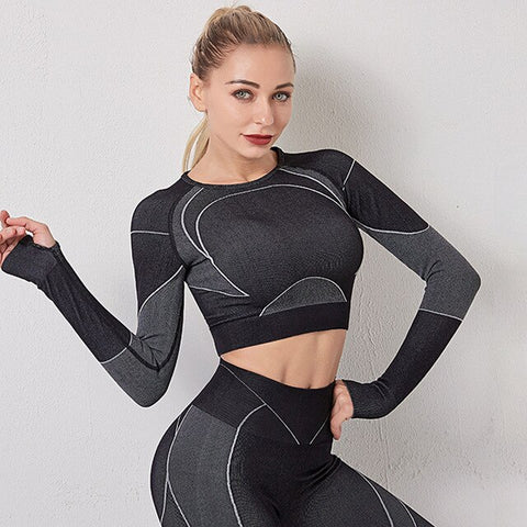 Women's Long Sleeve Spandex Fitness Top with Hollow Out, Striped Patchwork Design