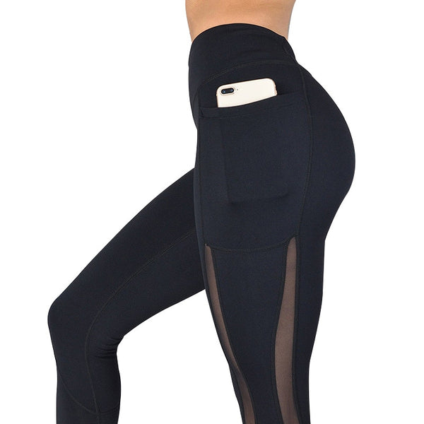 Women's High Waist Fitness Leggings with Pocket, for Yoga, Running, and Workout