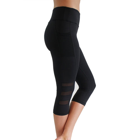 Women's Calf-Length Workout Leggings with Mesh Pocket & Design, Slim Fit, High Waist, & Push Up