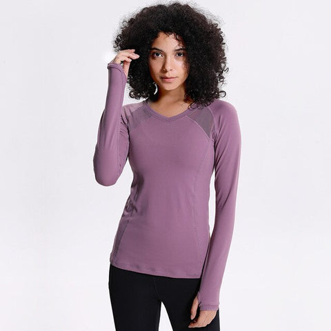 Women's Seamless Long Sleeve Yoga Shirt with Thumb Holes, Mesh Patchwork and Quick Drying Fabric