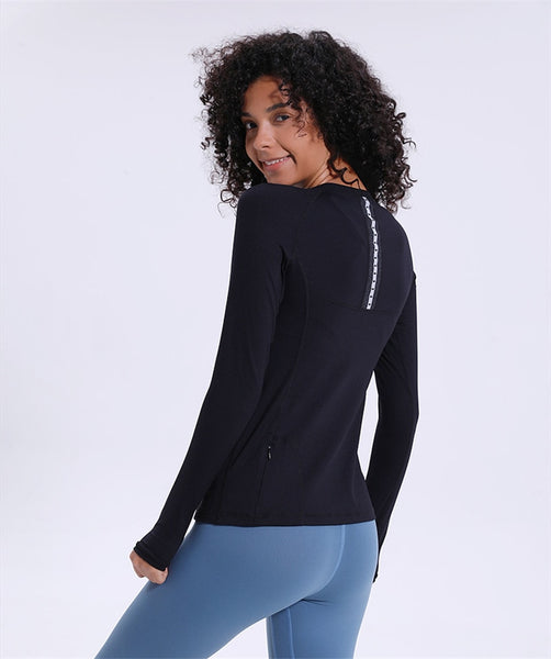 Women's Seamless Long Sleeve Yoga T Shirt with Thumb Holes, Mesh Patchwork and Quick Drying Fabric