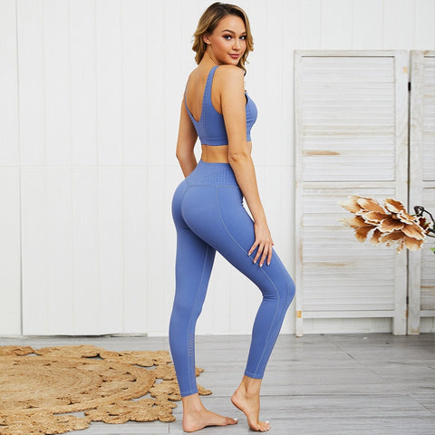 Seamless 2 Piece Set for Women, Crop Top + High Waist, Push Up Leggings for Gym, Workout, Yoga