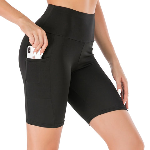 Women's Yoga Shorts with Pockets and Push Up Compression, for Jogging and Workout