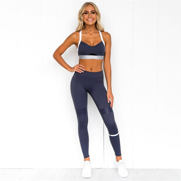 Women's Seamless 2 Piece Fitness Set with Stripes, Racerback Sports Bra + Push Up Leggings