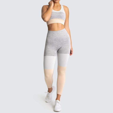 Colour Patchwork Seamless Yoga Set with Sports Bra + High Waist Leggings for Workout, Sports, Gym