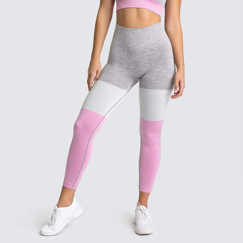 Seamless Fitness Leggings for Women, with Colour Patchwork for Workout, Running, Yoga