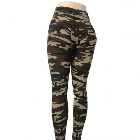 Women's Push Up Yoga Pants with Camo Print, Low Waist, Stretchy, Tight Fit, Ankle Length, For Yoga, Running and Sports