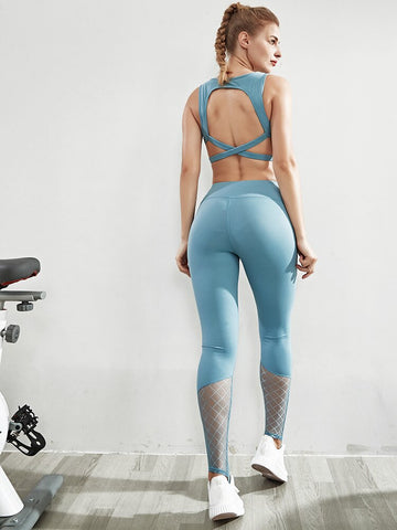 2 Piece Yoga Set for Women, Crop Top + Seamless Sports Leggings with Breathable Fabric