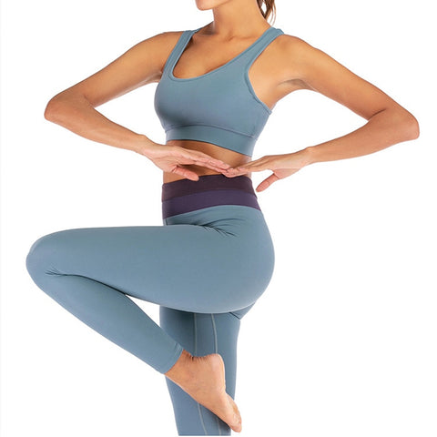 Seamless Yoga Set for Women with Back Cross Bra + Push-up Leggings for Gym, Workout