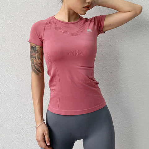 Spandex Fitness Top for Women, with O Neck, Short Sleeve, Breathable Fabric for Workout and Sports