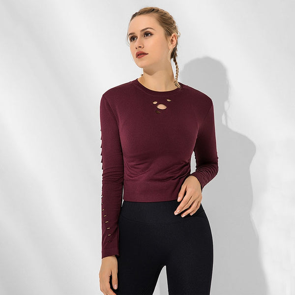 Women's Casual Fitness Top with O Neck, Long Sleeve, Hollow Out Design, for Sports and Exercise