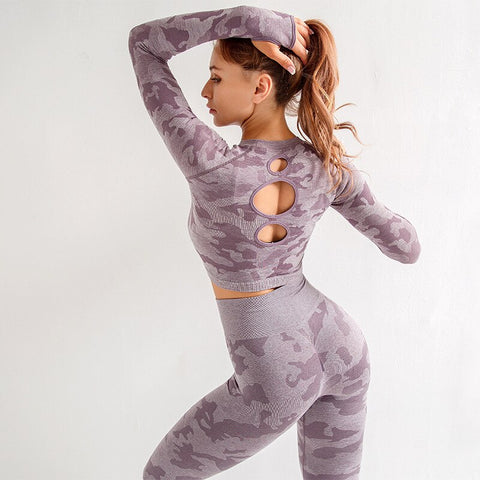 Women's Seamless Yoga Set with Camo Print, Long Sleeve Top with Thumb Holes + Leggings for Gym, Workout