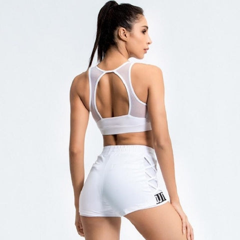 2 Piece Women's Athletic Wear with Sports Bra + Shorts for Yoga, Running, and Gym