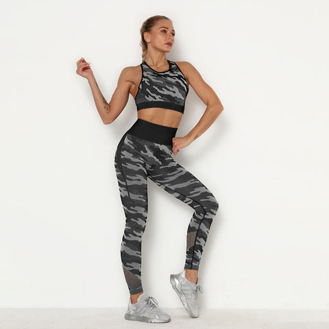 Seamless Yoga Set for Women, with Camo Print, Sports Bra + High Waist, Push-up Leggings for Sports, Workout
