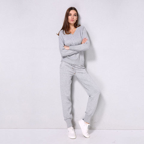 Solid Casual Wear Suit for Women with Long Sleeve, V Neck, Pullover Top + Full Length Drawstring Pants