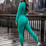 Women's Breathable Solid Fitness Suit with O Neck, Long Sleeve & Pull Over Top + High Waist Push Up Trousers