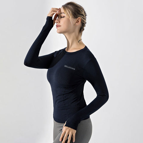Casual Women's Long Sleeve Fitness Top with O Neck, Breathable Fabric for Yoga and Workout