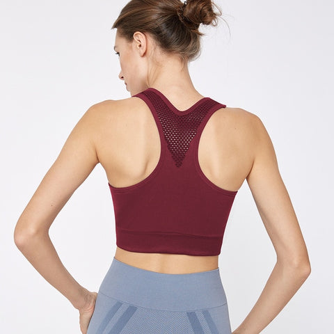 Seamless, Shockproof Sports Bra with Spores Back, Breathable Fabric for Yoga, Indoor & Outdoor Activities