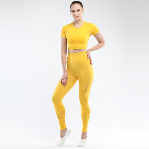 Seamless 2 Piece Solid Colour Yoga Suit for Women