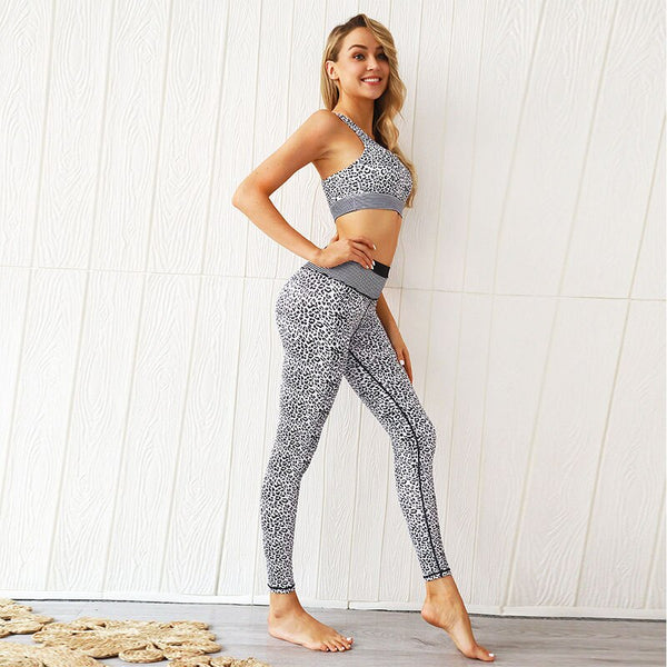 Women's Leopard Printed Sets with High Impact Bras and High Waist Leggings for Gym, Yoga and Other Sports