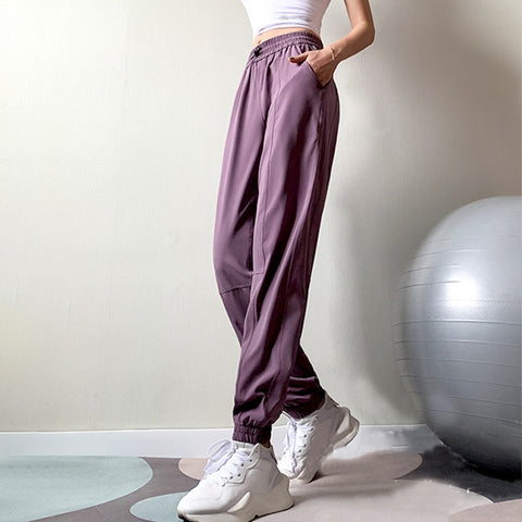 Women's Cargo, High Waist Sweatpants with Pockets, for Fitness Training and Outdoor Activities