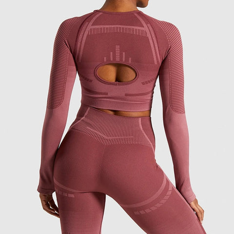 Women's Seamless Tracksuit with Thumb Hole, for Workout, Yoga, and Running
