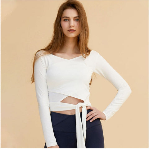 Women's Solid Crop Top with Long Sleeve for Training, Running, Bodybuilding, Yoga, and More