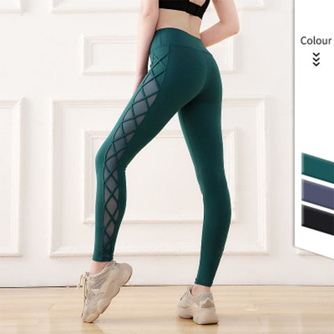 Women's Breathable Leggings with Mesh Patchwork for Yoga, Sports, Running and Gym