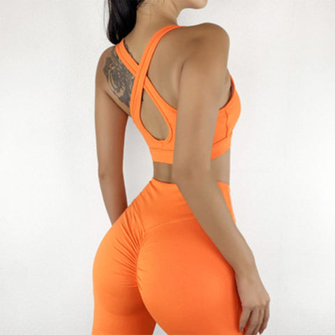 Women's Stretchable Suits with Back Cross Push Up Bras and Shorts for Running, Gym and Yoga