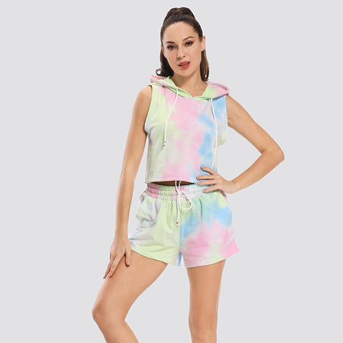 Women's Tie Dye Tracksuit with Crop Top and High Elastic Shorts for Gym, Running and Other Sports