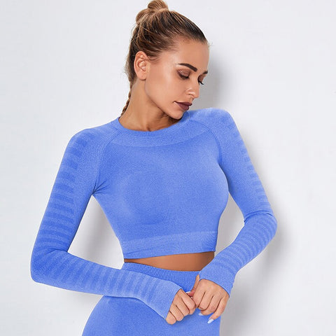 Women's Seamless, Quick Dry Crop Top with Long Sleeves and Thumb Holes for Fitness and Sports Activities