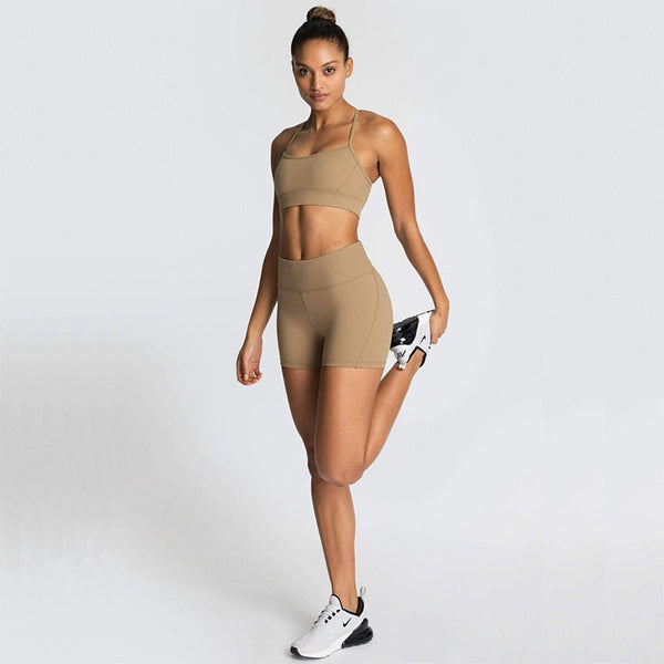 Women's Brown Sportwear with Sports Bra and Push Up Shorts