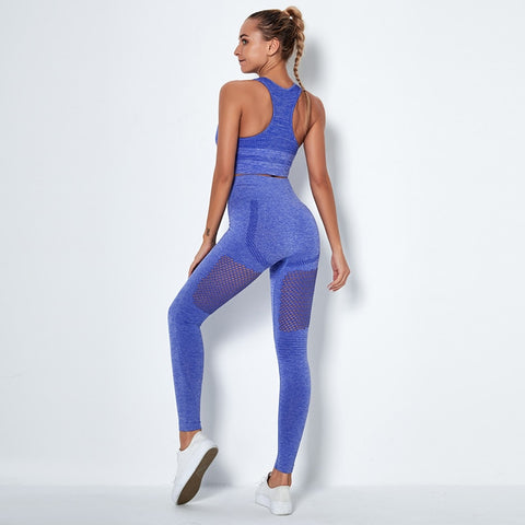 Women's Yoga Suit with Shockproof Bras and High Waist Leggings with Mesh for Gym, Running and Other Fitness Activities