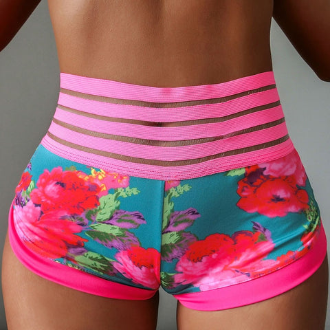 Women's Printed, Summer Fitness Shorts with Mesh Patchwork and Pockets